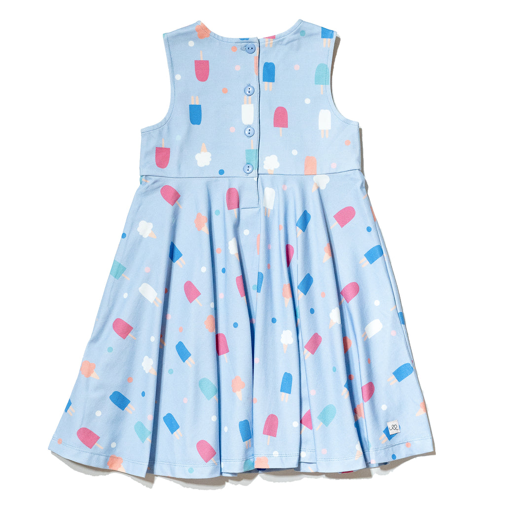 Sweets popsicle printed cotton dress for girls 2T- 6T, colorful gender neutral print to twin with siblings, perfect spring & summer dress by Anise & Ava.