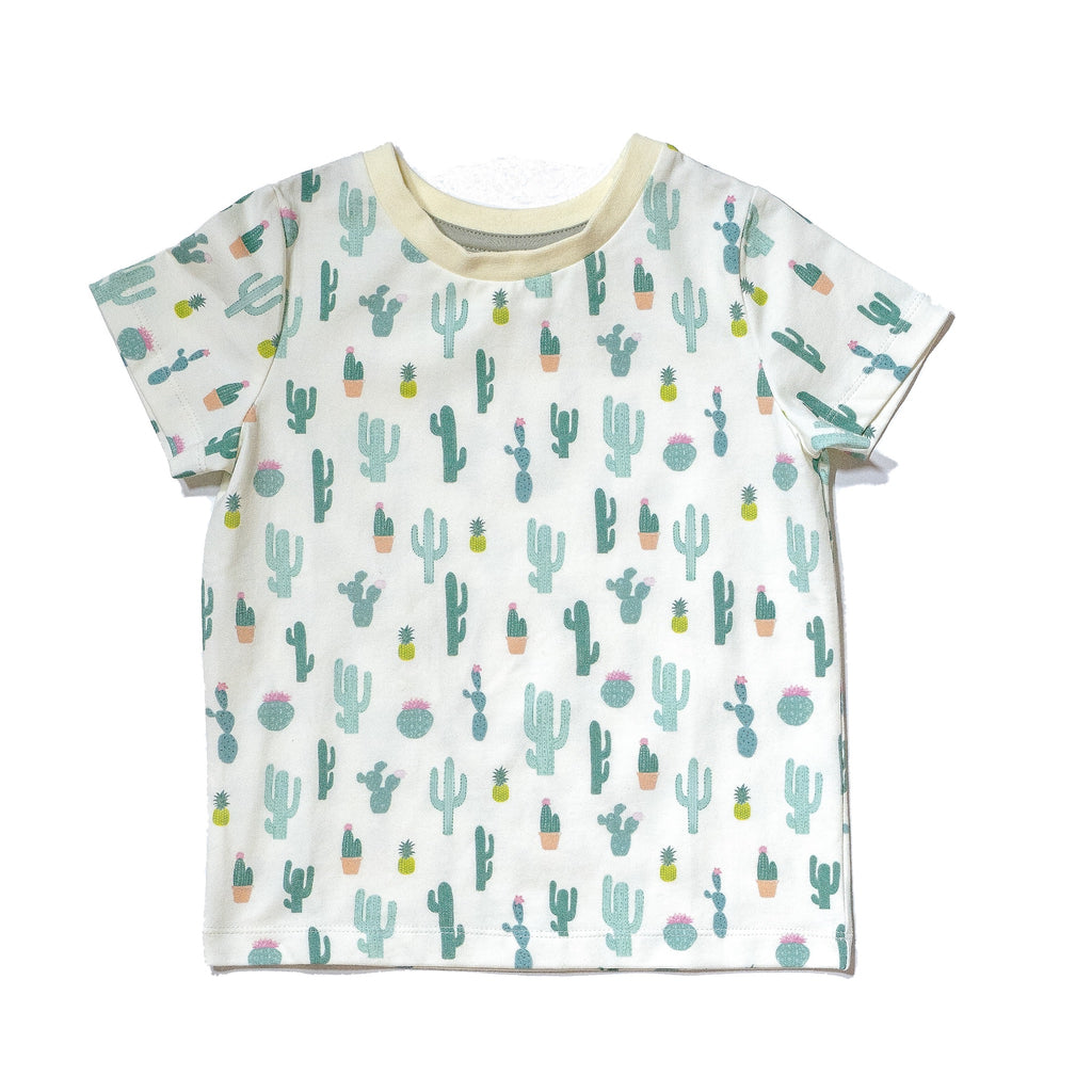 Cactus printed kids' cotton tee, gender neutral colorful cactus print, perfect summer tee by Anise & Ava.