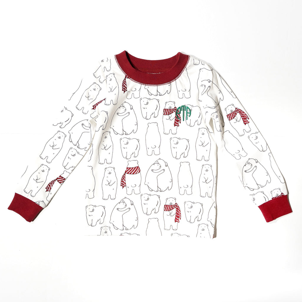 Kids' PJ top in holiday Cozy Bear print for Mommy & Me, Daddy& Me, and siblings twinning for the perfect holiday family photo.