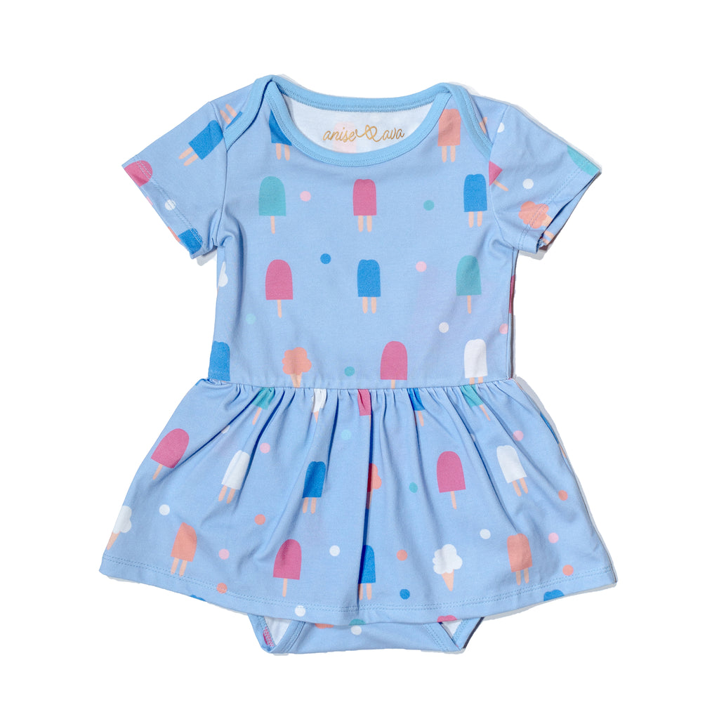 Sweets popsicle baby onesie dress, fun, colorful, gender neutral print to twin match with siblings and family by Anise & Ava.