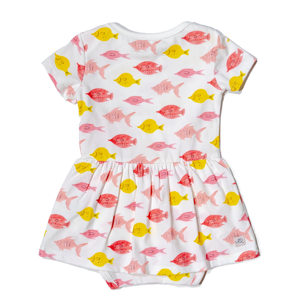 Fishes baby onesie dress, fun, colorful, gender neutral print to twin match with siblings and family by Anise & Ava.