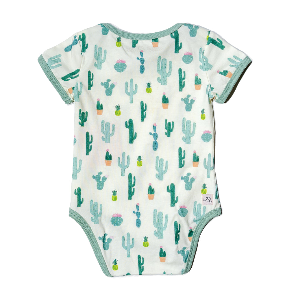 Cactus printed baby onesie, fun, colorful, gender neutral print to twin match with siblings and family by Anise & Ava.