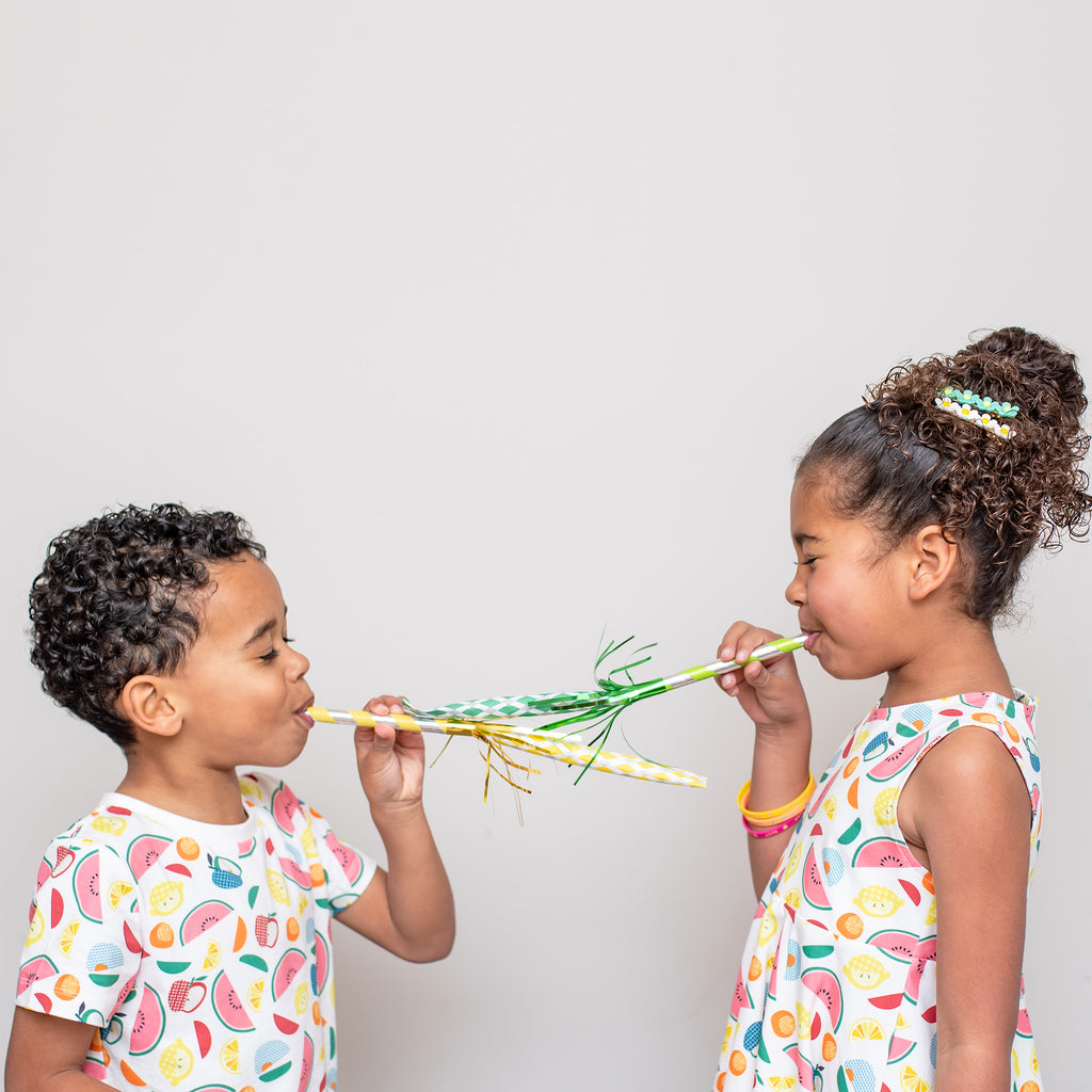 Artsy Tropical printed kids' cotton tee, gender neutral colorful print, printed fruits, perfect summer tee by Anise & Ava.