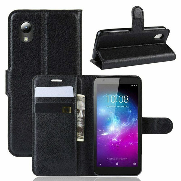 Premium Leather Wallet PHONE Case TPU Cover Optus X Wave + Tempered Glass SP
