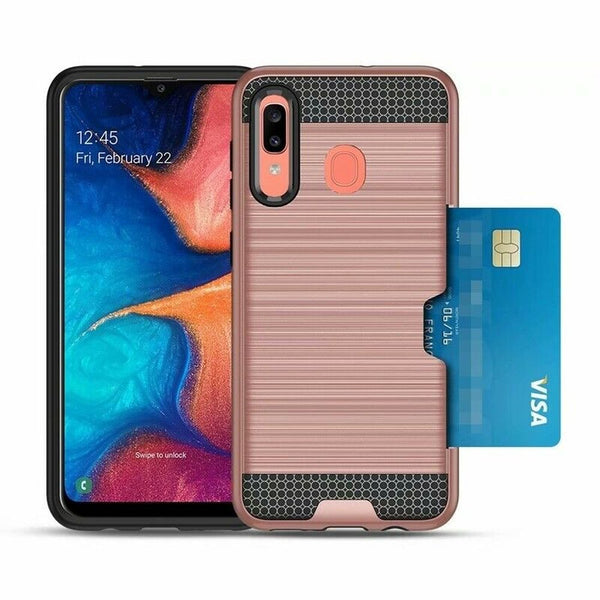 For Samsung Galaxy A20 A30 Heavy Duty Tough Strong Card Armor Case Cover