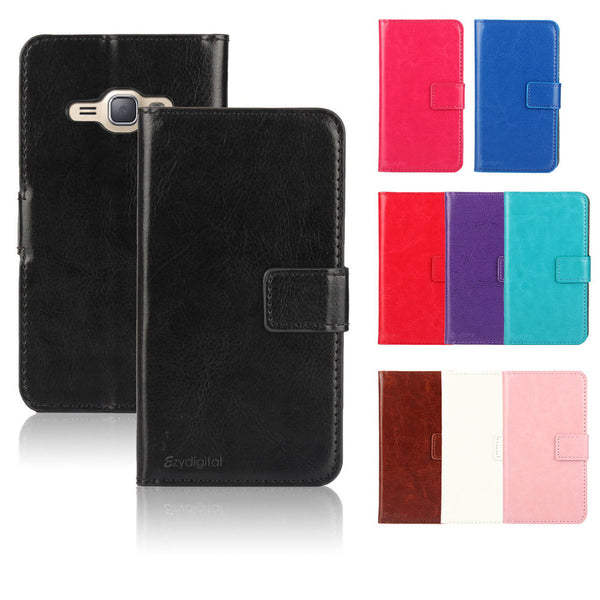 New Colorful Wallet Case Cover for Samsung Galaxy J16 J1 2016 + Screen Guard