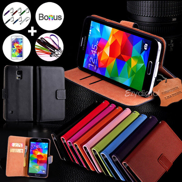 For Samsung Galaxy S5 & S5 mini Genuine Real Leather Wallet Case