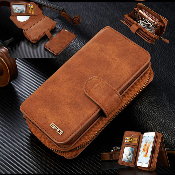 Genuine Leather Purse Wallet Case Cover For iPhone 11 Pro Max & Galaxy Note10+