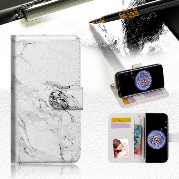 Marble Shape Stone Wallet Case Cover For Samsung Galaxy J8 (2018) -- A029