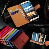 Colorful Genuine Real Leather Wallet Case for HTC ONE M9