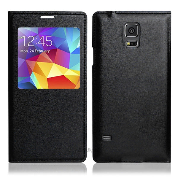 Leather Case Cover For Samsung Galaxy S5 S-View Shinning Waterproof Seal