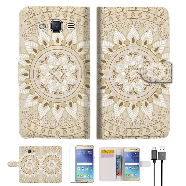 New AZTEC TRIBAL Wallet Case Cover For Samsung Galaxy J2- A006 White
