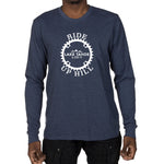 Men's Long Sleeve T-shirt - Ride Up Hill, Lake Tahoe 6,250ft design