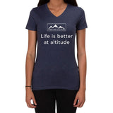 Life is Better at Altitude design - Ladies V-neck T-shirt
