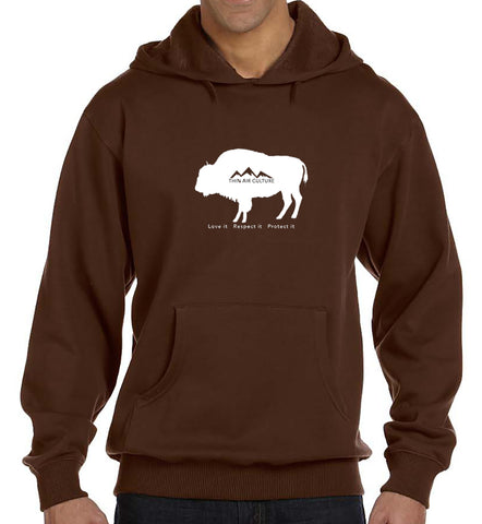 Eco-Hoodie - American Bison-Love it Respect it Protect it design