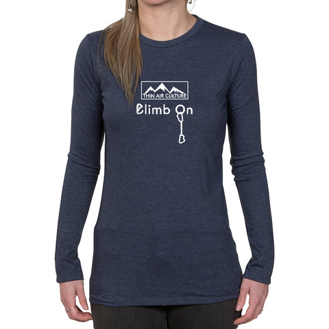 Ladies Long Sleeve T-shirt - Climb On design