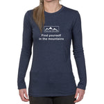 Ladies Long Sleeve T-shirt - Find yourself in the mountains design
