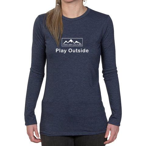 Ladies Long Sleeve T-shirt - Play Outside design
