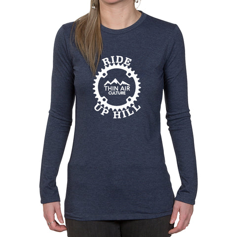 Ladies Long Sleeve T-shirt - Ride up Hill - Thin Air Culture design