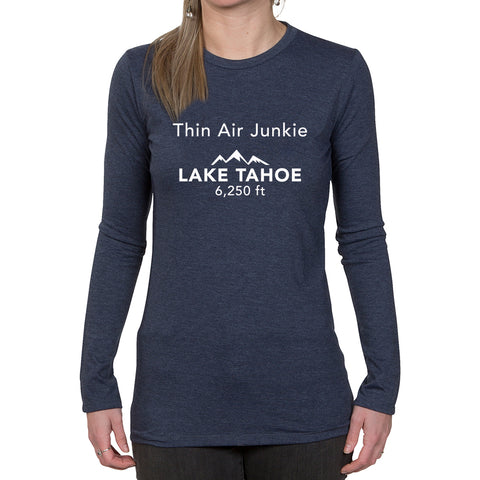 Ladies Long Sleeve T-shirt - Thin Air Junkie - Lake Tahoe 6,250ft design