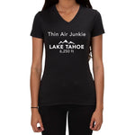 Thin Air Junkie Lake Tahoe 6250ft design - Ladies V-neck T-shirt