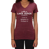 Lake Tahoe 6,250ft Love it Respect it Protect it design - Ladies V-neck T-shirt