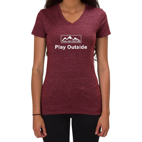 Play Outside design - Ladies V-neck T-shirt