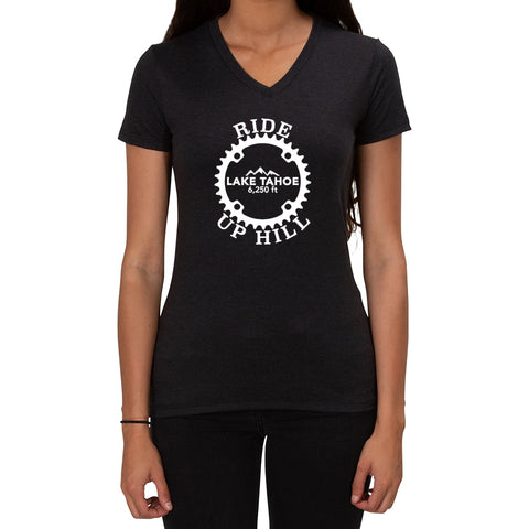 Ride Up Hill Lake Tahoe 6,250ft design - Ladies T-shirt V-neck