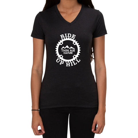 Ride Up Hill Thin Air Culture - Ladies T-shirt V-neck