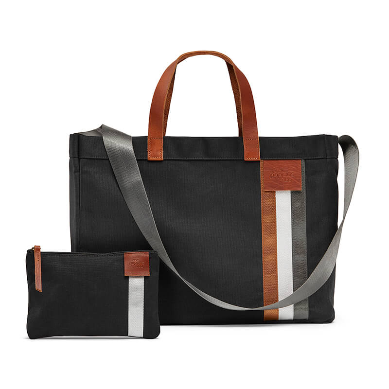 Black canvas tote with leather handles and free zipped purse