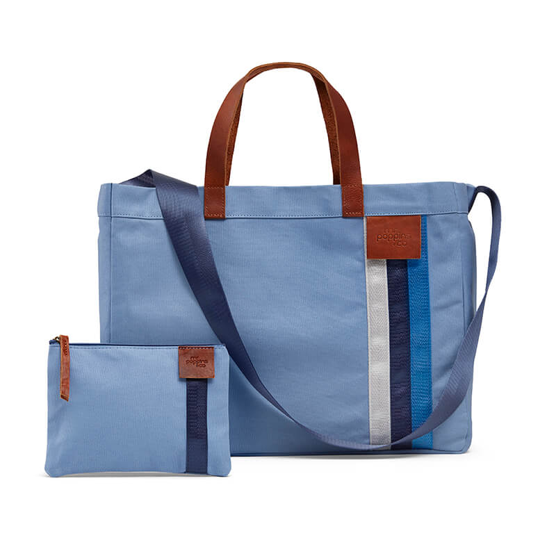 Blue casual canvas tote for everyday use and free zipped purse