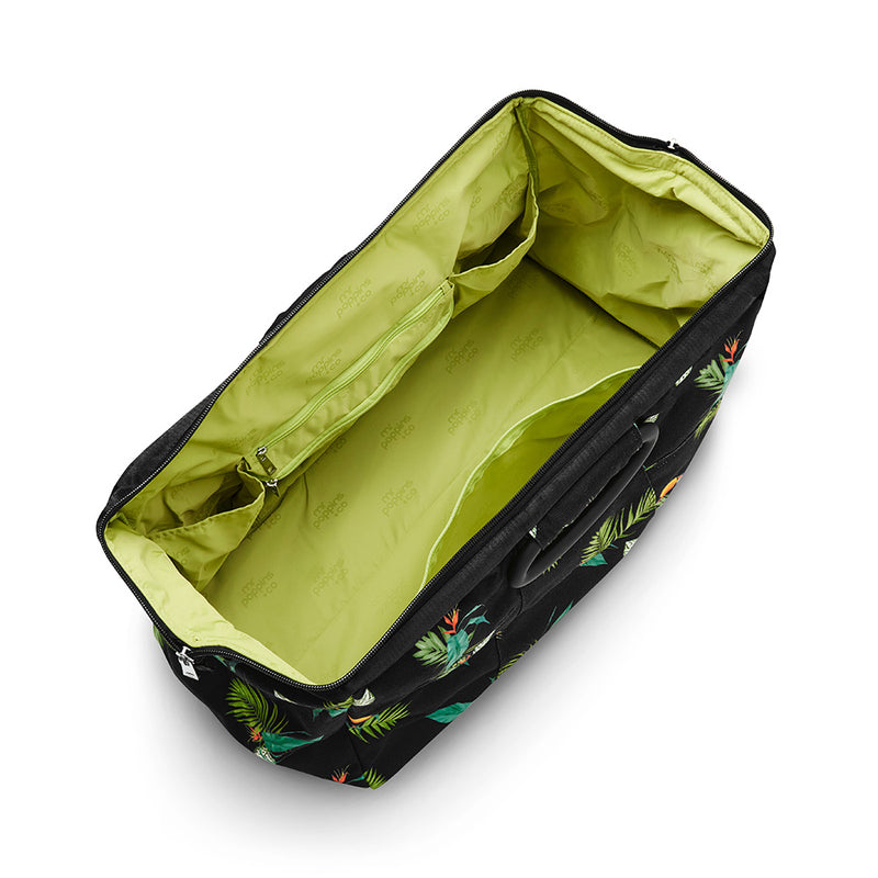 Designer travel bag in toucan print