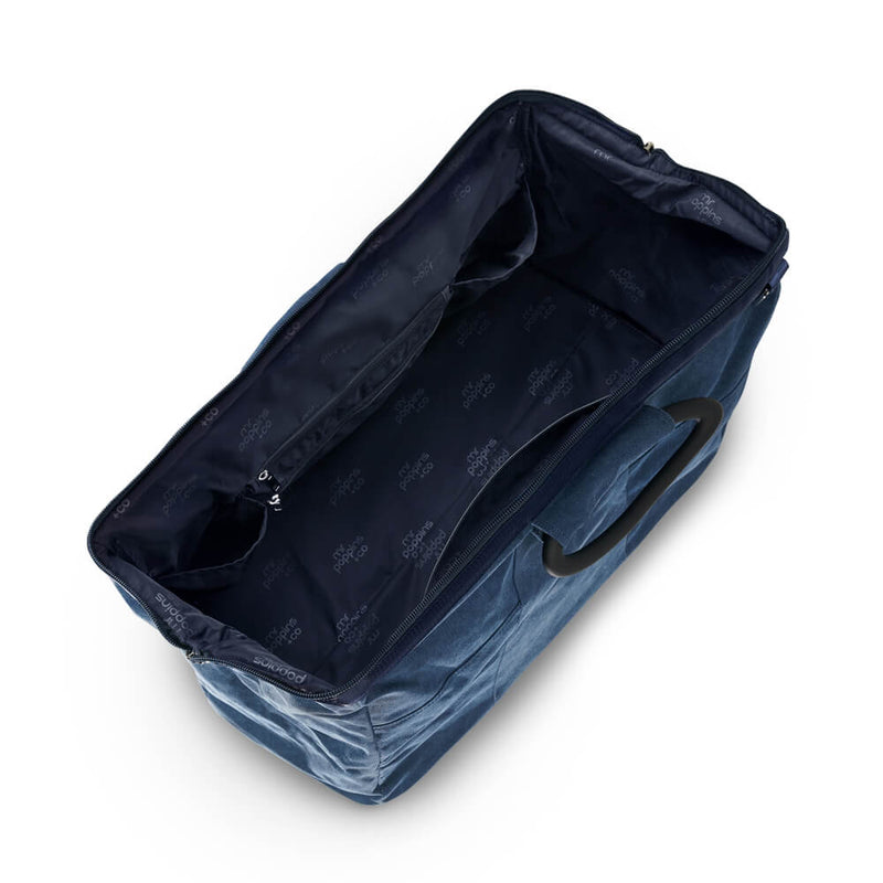 Unisex navy denim weekender or overnight bag