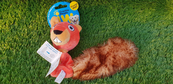 JW Crackle Heads Plush Squirrel Medium