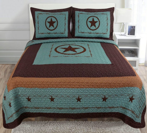 3pc Luxury Western Barbwire Turquoise Star Quilt Bedspread Comforter Set