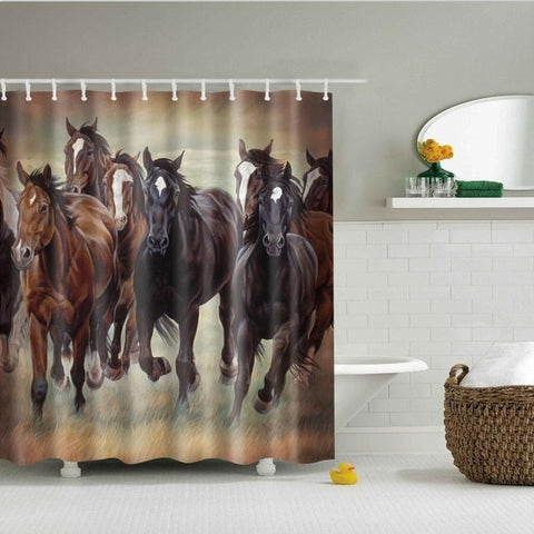 BBHORSES- 3D Horses Cowboy Shower Curtain - BbHorses - Sale 40% OFF