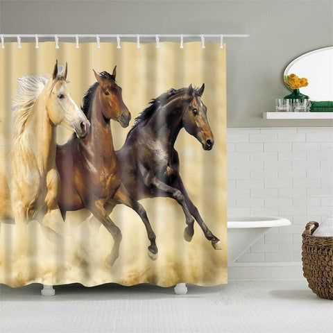 TRIHORSE - 3D Horses Cowboy Shower Curtain - TriHorse - Sale 40% OFF