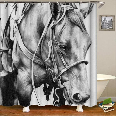 HORSE BW - 3D Horses Cowboy Shower Curtain - HorseBW - Sale 40% OFF