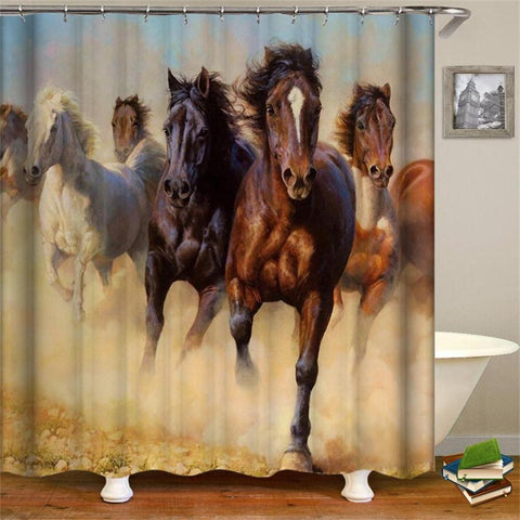 HORSES - 3D Horses Cowboy Shower Curtain - Horses