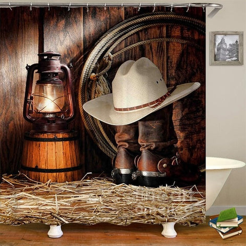 3D Western American Cowboy Shower Curtain - Sale 50% OFF