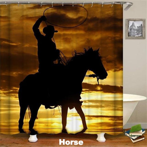 HORSE - 3D Western Shower Curtain - Horse - Sale 40% OFF