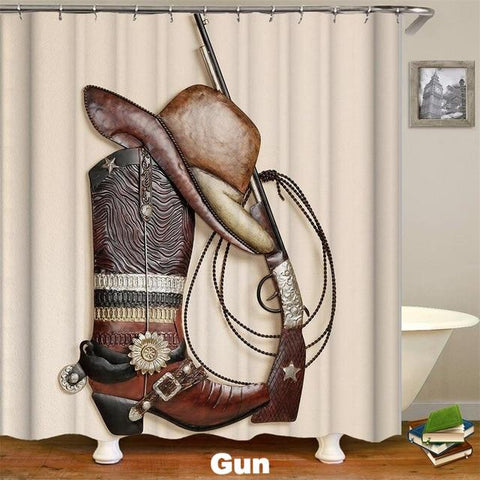 GUN - 3D Western Shower Curtain - Gun - Sale 40% OFF
