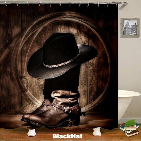 BLACKHAT - 3D Western Shower Curtain - BlackHat