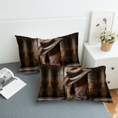 2x pieces Western Cowboy Bedding 3D Pillowcase