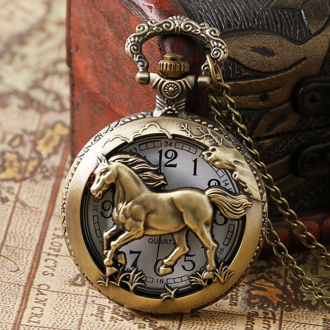 Pocket Watch Bronze Copper Horse Hollow Quartz Clock