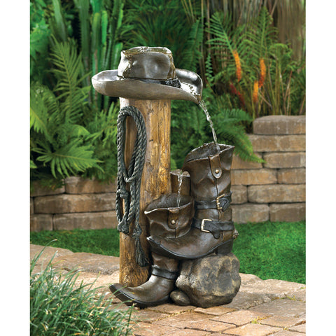 Cowboy Western Garden Water Fountain - Sale 64% Off