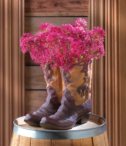 Western Theme Garden Decor Cowboy Boot Planter Outdoor