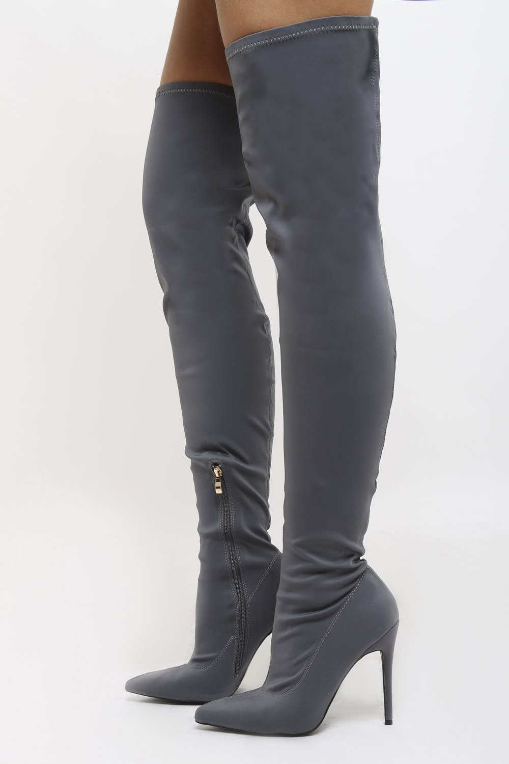 2c8663dfa293 Olivia Lycra Over the Knee Boots in Grey 63% off