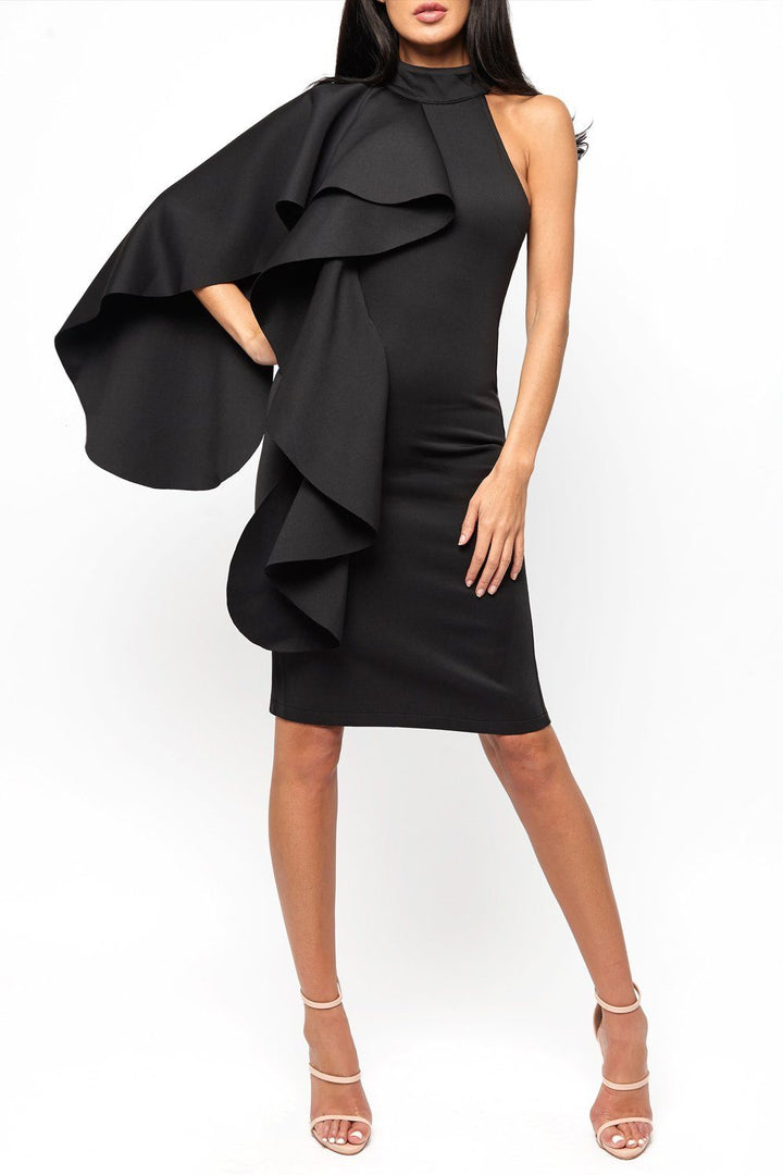 Ferne One Shouldered Cape Midi Bodycon Dress in Black