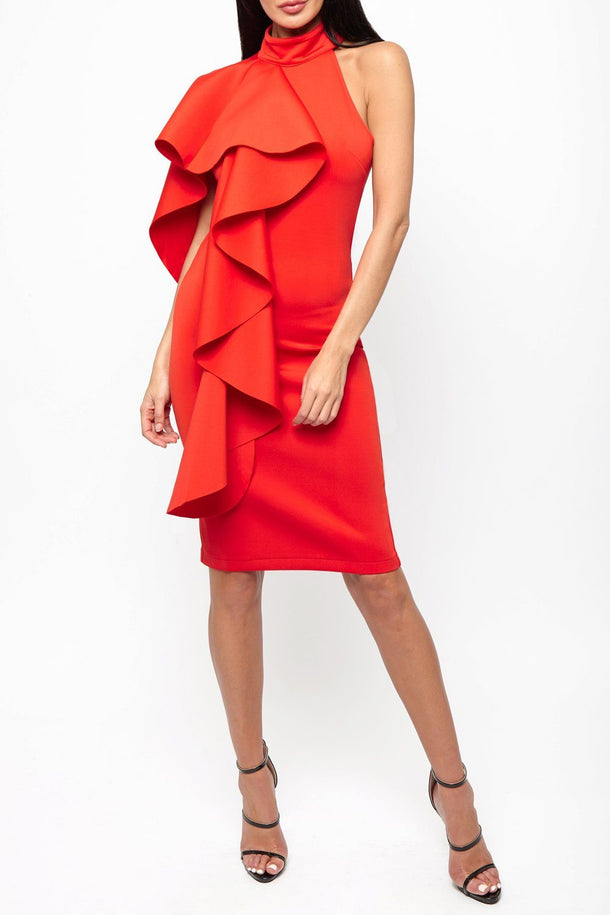 Ferne One Shouldered Cape Midi Bodycon Dress in Red